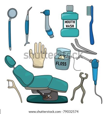 cartoon dentist tool icon set - stock vector