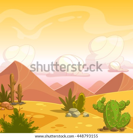 Cartoon desert landscape with cactuses, stone, sand dunes and cloudy sky. Square vector outdoor illustration. Background for game design. - stock vector