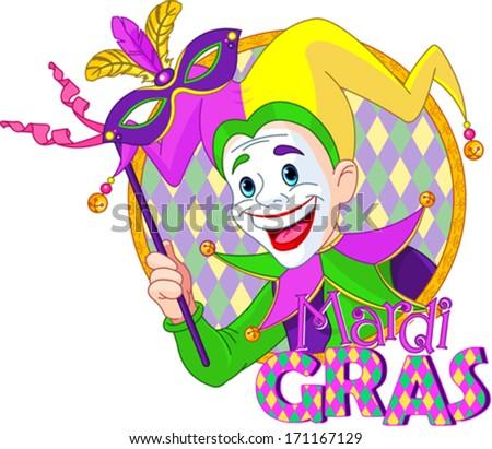 Cartoon design of Mardi Gras Jester holding a mask - stock vector