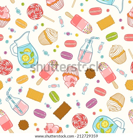 Cartoon desserts, sweets and drinks seamless pattern - stock vector