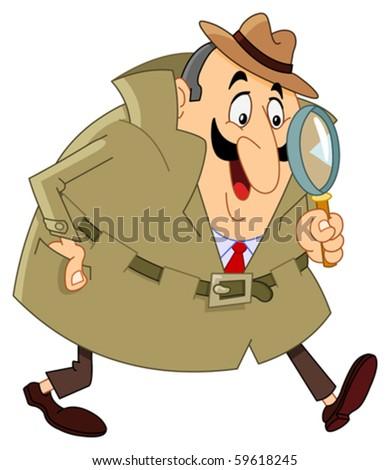Cartoon detective - stock vector