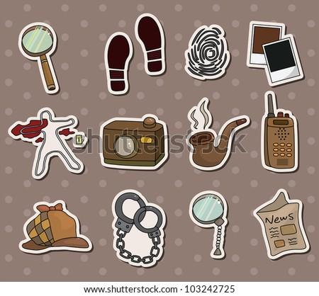 Cartoon detective equipment stickers - stock vector