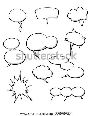 Cartoon dialog clouds set for comics or another design - stock vector