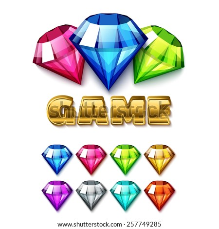 Cartoon Diamond Shaped Gem Icons Set with gold lettering Game. Isolated on white background vector elements - stock vector
