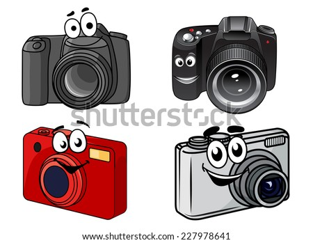 Cartoon digital cameras showing point and shoot, compact and professional dslr with smiling faces, vector illustration on white - stock vector