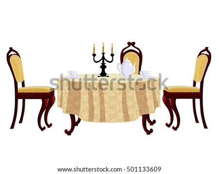 Cartoon dining table and chair in vintage style for dining room, isolated on white.