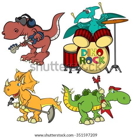 Cartoon dino rock band. Triceratops as a singer with a microphone, Stegosaurus as a guitarist, T-Rex as a bass guitarist with headphones on his head, Pterodactyl as a drummer at a drumkit. - stock vector