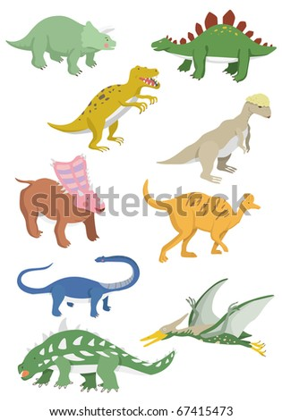 cartoon dinosaurs icon - stock vector