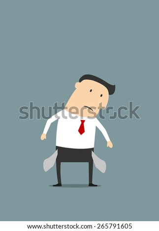 Cartoon disappointed businessman showing his turned inside out empty pockets in flat style suited for money problems or bankruptcy concept design - stock vector