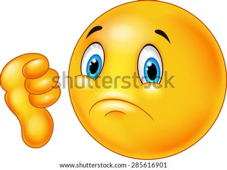 Cartoon dislike smile emoticon - stock vector