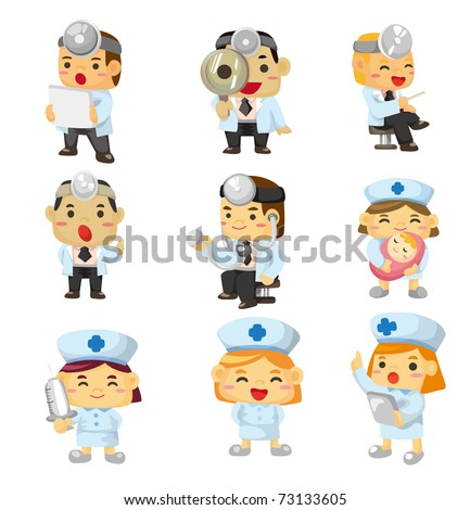 cartoon doctor and nurse icon - stock vector