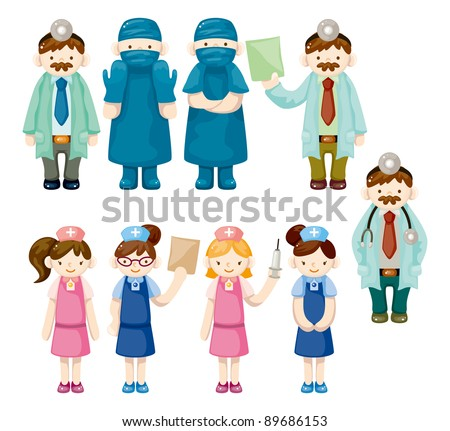 cartoon doctor and nurse icons - stock vector
