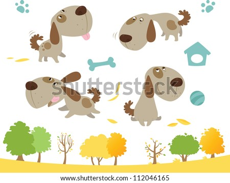 Cartoon dog collection - stock vector