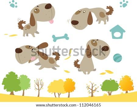 Cartoon dog collection - stock vector