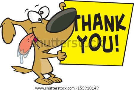 Cartoon dog holding a sign that says thank you - stock vector