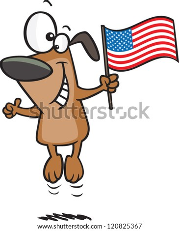 cartoon dog jumping up and holding an american flag