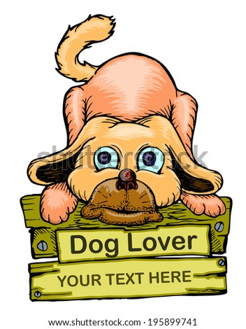 cartoon dog on the wood with text dog lover - stock vector
