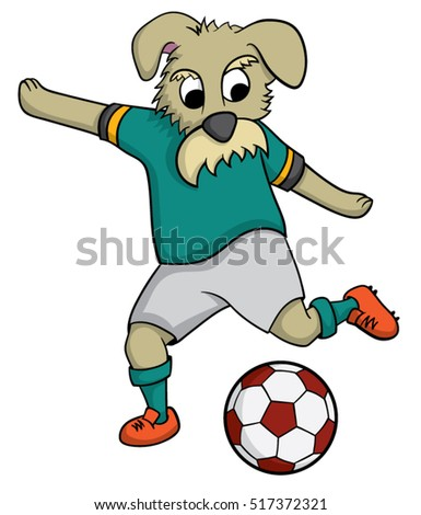 cartoon dog playing football