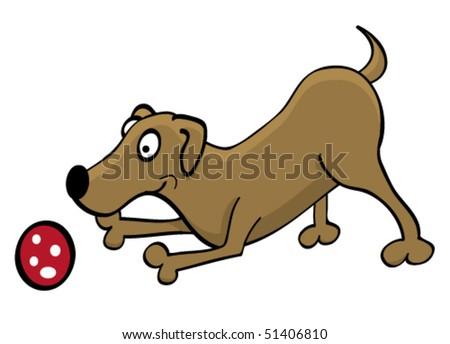cartoon dog playing with a ball
