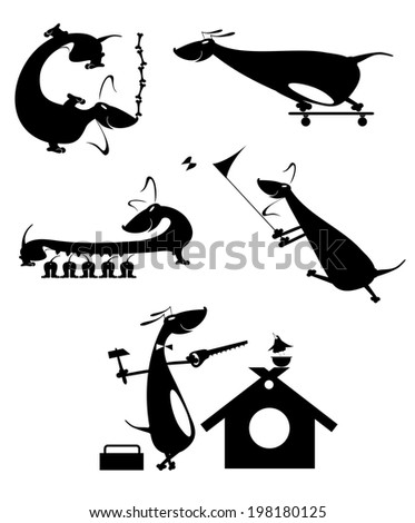 Cartoon dog silhouette collection for design - stock vector