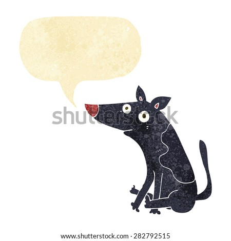 cartoon dog with speech bubble - stock vector