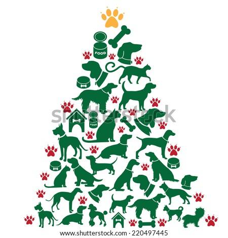 Cartoon dogs and cats Christmas tree EPS 10 vector - stock vector