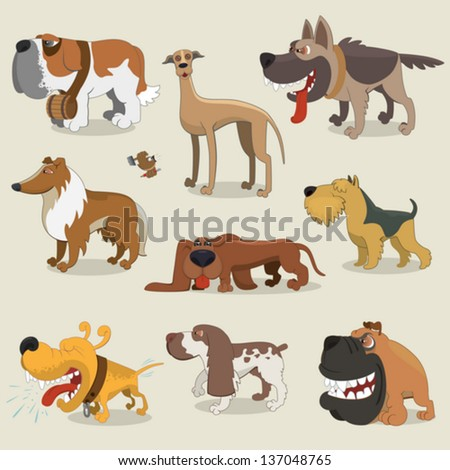 Cartoon dogs collection - stock vector