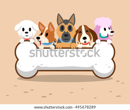 Cartoon dogs with bone sign