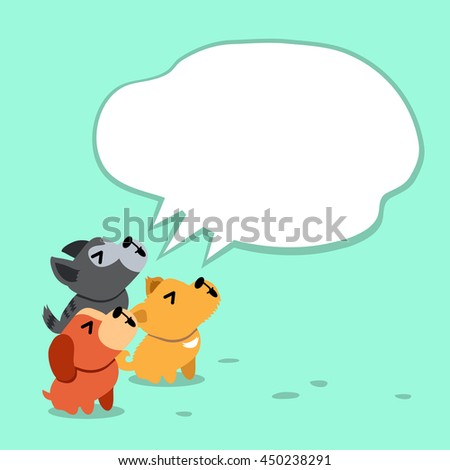 Cartoon dogs with white speech bubble