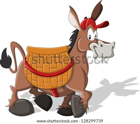 Cartoon donkey carrying a large basket - stock vector