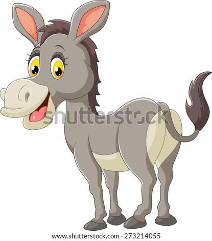 cartoon donkey smile and happy - stock vector