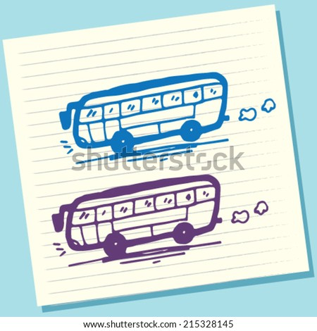 Cartoon Doodle Bus Sketch Vector Illustration - stock vector