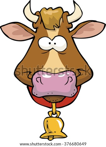 Cartoon doodle cow head on a white background vector illustration - stock vector