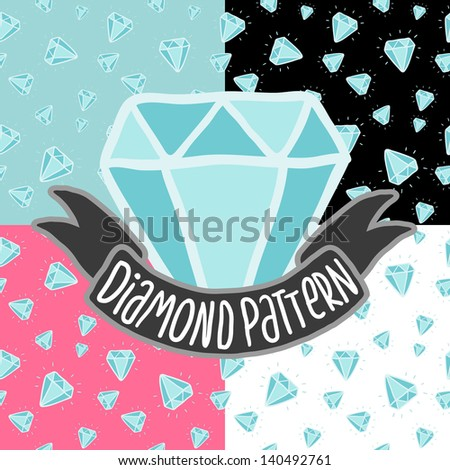 Cartoon doodle diamond seamless  pattern.  - stock vector