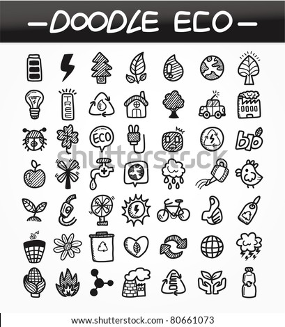 cartoon doodle eco icon set - stock vector