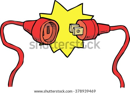 Cartoon doodle electric plug with socket vector illustration