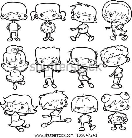 Cartoon doodle girls and boys - stock vector