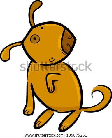 cartoon doodle illustration of funny dog or puppy