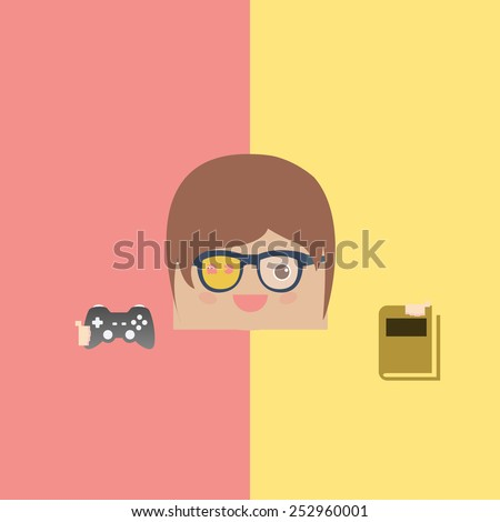 cartoon doodle man rectangle play games and love reading, vector illustration - stock vector