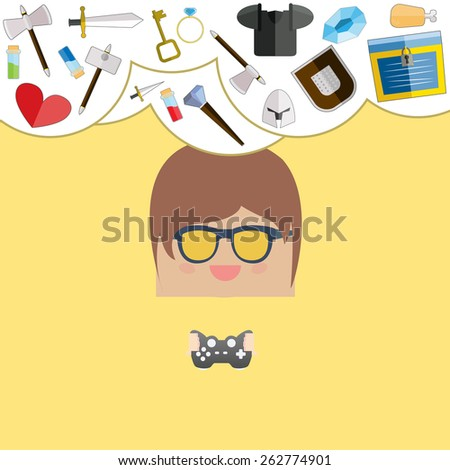 cartoon doodle man rectangle play games game weapon icons, vector illustration - stock vector