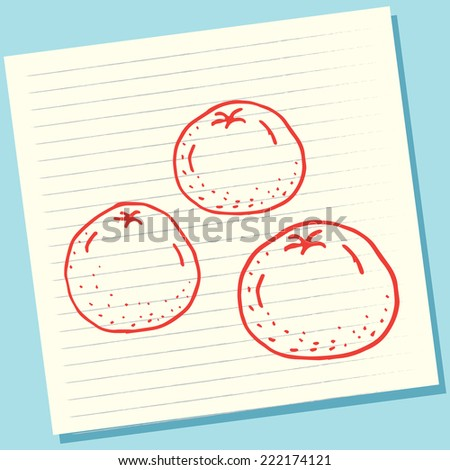 Cartoon Doodle Orange Fruits Sketch Vector Illustration - stock vector