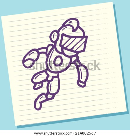 Cartoon Doodle Robot Sketch Vector Illustration - stock vector
