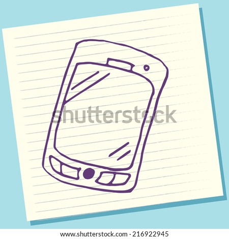 Cartoon Doodle Smartphone Sketch Vector Illustration - stock vector