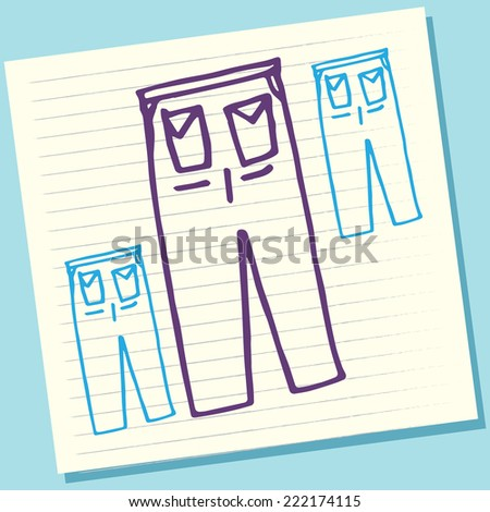 Cartoon Doodle Trouser Sketch Vector Illustration - stock vector