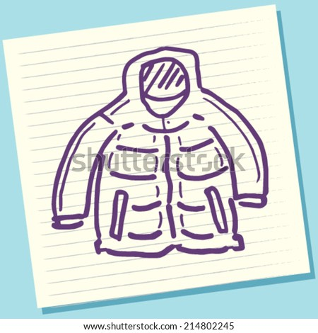 Cartoon Doodle Winter Jacket Sketch Vector Illustration - stock vector
