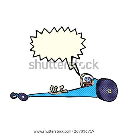 cartoon drag racer with speech bubble - stock vector