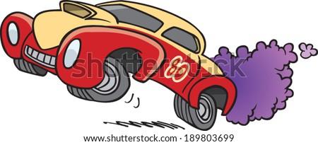 Cartoon Drag Racing Car Stock Vector 189803699 - Shutterstock