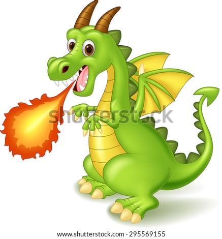 Cartoon dragon posing with fire - stock vector