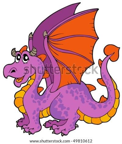 Cartoon dragon with big wings - vector illustration. - stock vector