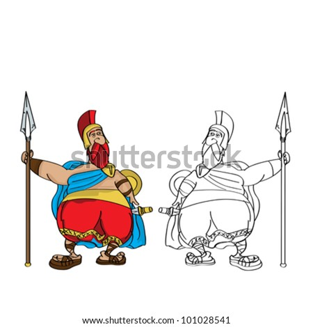 Cartoon drawing of a fat roman soldier and outline against white background